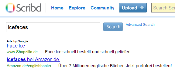 Amazon.de Ad for ICEfaces Book